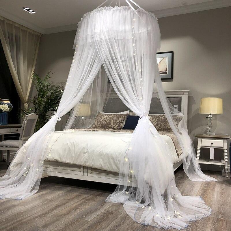 Princesse Style Hung Dôme Moustiquaire Ronde Dentelle Rideau Pour La Maison Textile Lit Lit Baldaquin Maille Polyester Tente Filles zanzariera