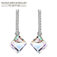 Neoglory MADE WITH SWAROVSKI ELEMENTS Crystal Zircon Dangle Earrings Elegant Square Design Changeable Double Color Colorful