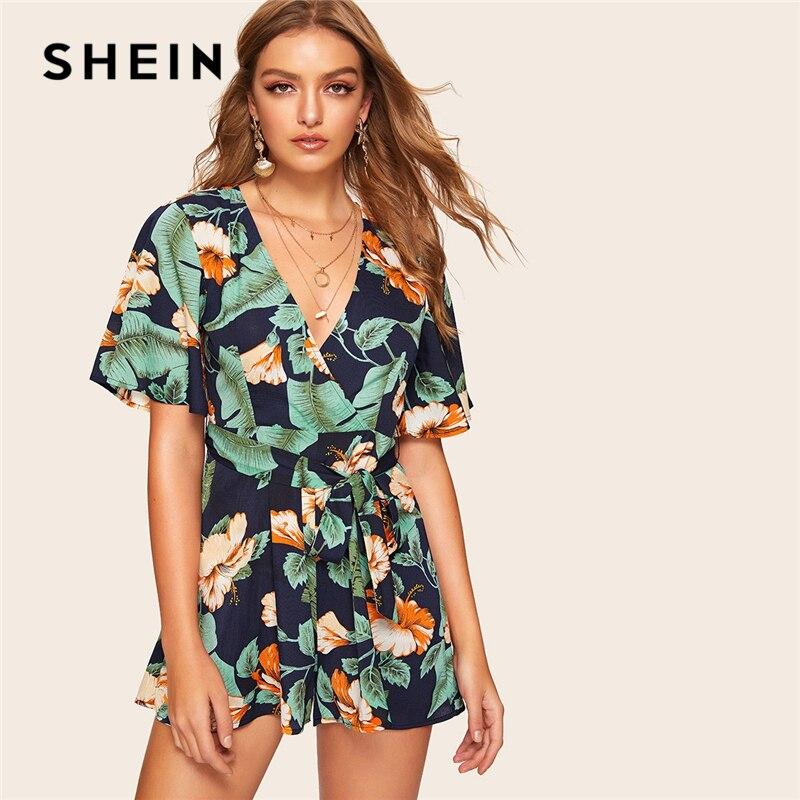 SHEIN Tropical Print Playsuit 07190315637