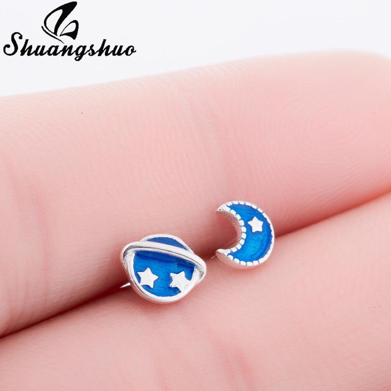 Shuangshuo Satellite and Moon Earrings Charms Pretty Astronomy Space Post Ear Moon Stud Earrings For Women Blue Planet Earrings earrings