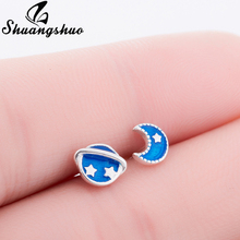 US $1.64 45% OFF|Shuangshuo Satellite and Moon Earrings Charms Pretty Astronomy Space Post Ear Moon Stud Earrings For Women Blue Planet Earrings-in Stud Earrings from Jewelry & Accessories on AliExpress