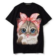 Men/women's  cotton hip-hop T shirts New 2019 summer short sleeves cute cat print loose Tops Tee Fashion women's Tee shirt A053 cat print tee