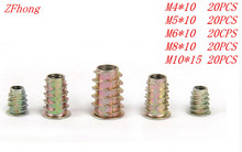 100pcs M4 M5 M6 M8 M10 Zinc Alloy Furniture Hex Drive Head Nut Threaded For Wood Insert Metric Assortment Kit