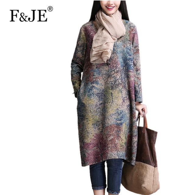 2017 otoño estilo de artes mujer manga larga dress loose largo ocasional dress alta calidad de la vendimia vestidos de impresión más el tamaño yt25