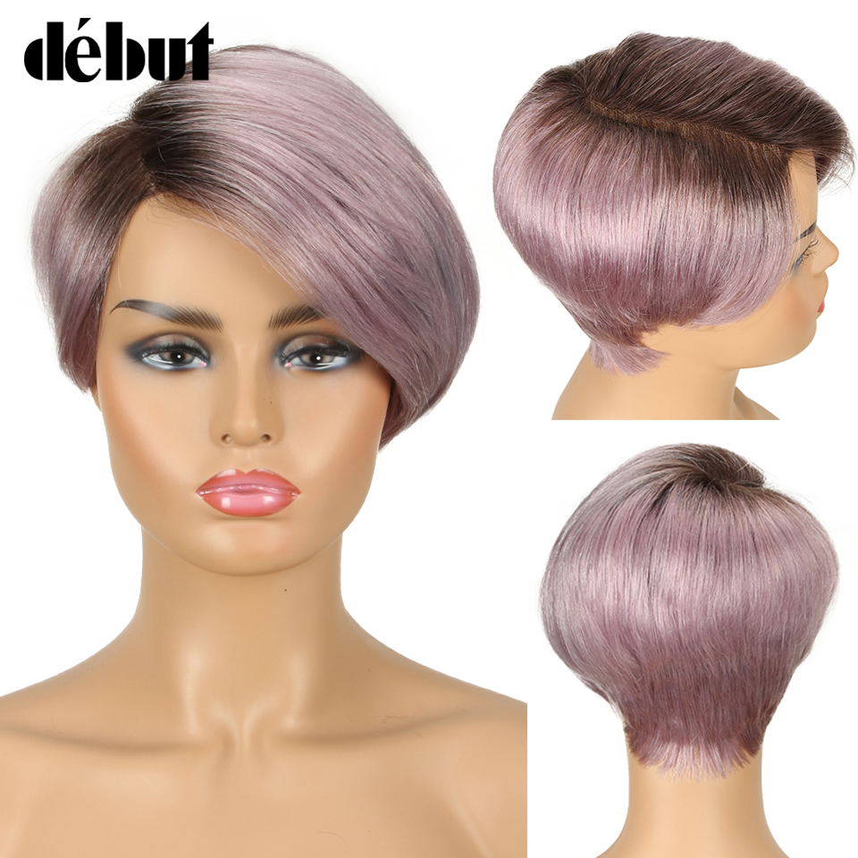 Debut Lace Wigs Human Hair Wigs For Black Women Part Lace Bob Short Wig Human Hair Straight Remy Ombre Lace Wig Free Shipping