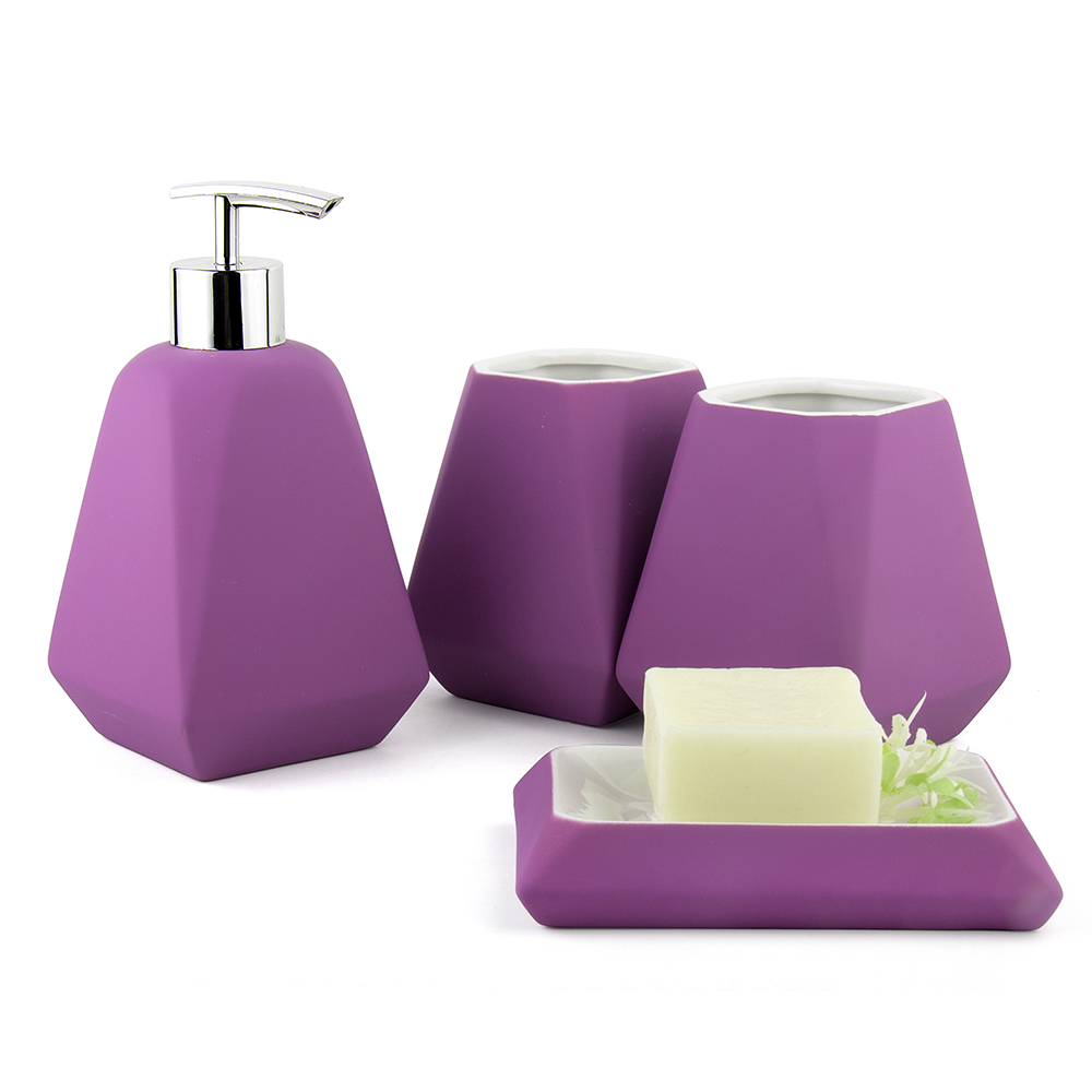 Nordic style rubber paint solid color ceramic bathroom set for Coloured bathroom accessories set