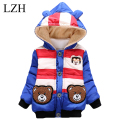 LZH Baby Boy Clothes Jacket 2016 Winter Fashion Kids Warm Outerwear Coat Cute Bear Stripe Hooded Girls Jacket Children's Clothes