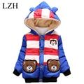LZH Baby Boy Clothes Jacket 2016 Winter Fashion Kids Warm Outerwear Coat Cute Bear Stripe Hooded Girls Jacket Children's Clothes