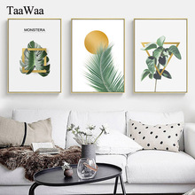 TAAWAA Green Plants Leaves Poster Geometric Abstract Painting Wall Art Canvas Prints Decorative Picture Living Room Home Decor