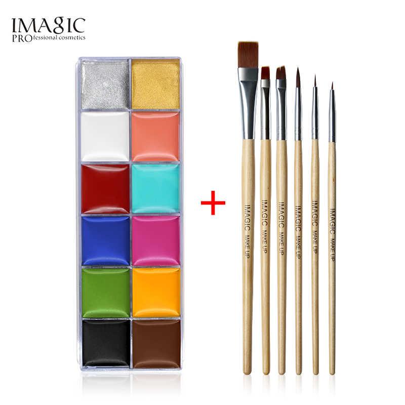 ฮาโลวีน Face Body Paint ภาพวาดสีน้ำมัน Art Make Up ชุดเครื่องมือปาร์ตี้แฟนซีชุด 12 แฟลช Tattoo สี + 6 ชิ้นสีแปรง