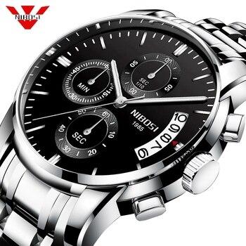 NIBOSI Men Watches Military Luxury Brand Watch Mens Quartz Stainless Steel Clock Fashion Chronograph Watch Man Relogio Masculino