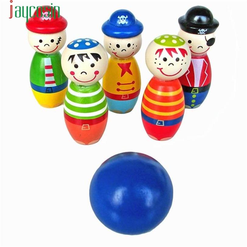 HIINST Best seller Children Toys Wooden Bowling Ball Skittle Funny Shape for Kids Game S25