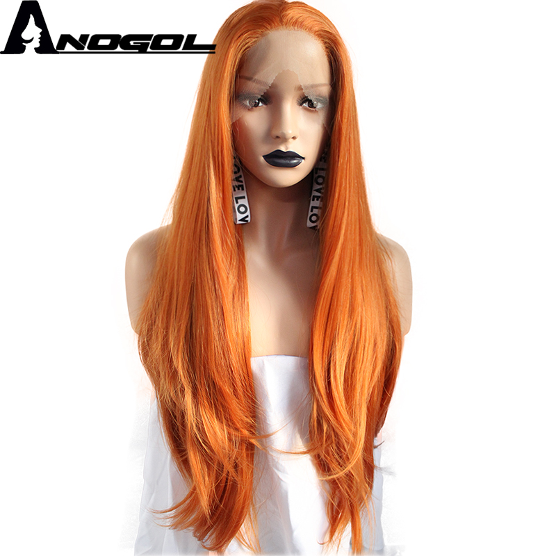 Anogol High Temperature Fiber Peruca Cabelo Orange Long Natural Wave Synthetic Lace Front Wigs For Women