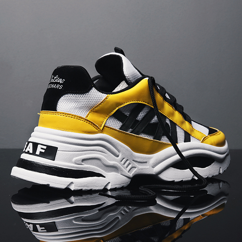 BomKinta Stylish Designer Casual Shoes Men Yellow Sneakers Black White Walking Footwear Breathable Mesh Sneakers Men Shoes