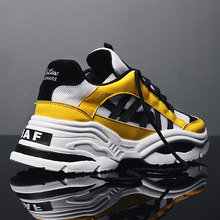 BomKinta Stylish Designer Casual Shoes Men Yellow Sneakers Black White Walking Footwear Breathable Mesh Sneakers Men Shoes(China)