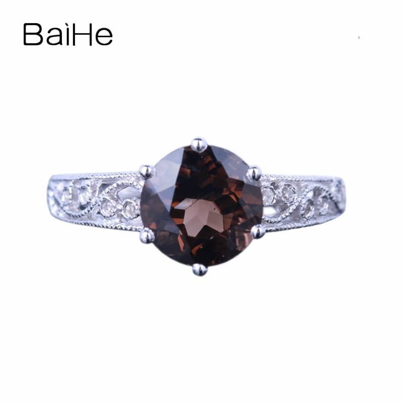BAIHE Sterling Silver 925 2.12ct Certified Flawless Round 100% Genuine Smokey Quartz Wedding Women Trendy Fine Jewelry Gift Ring цена