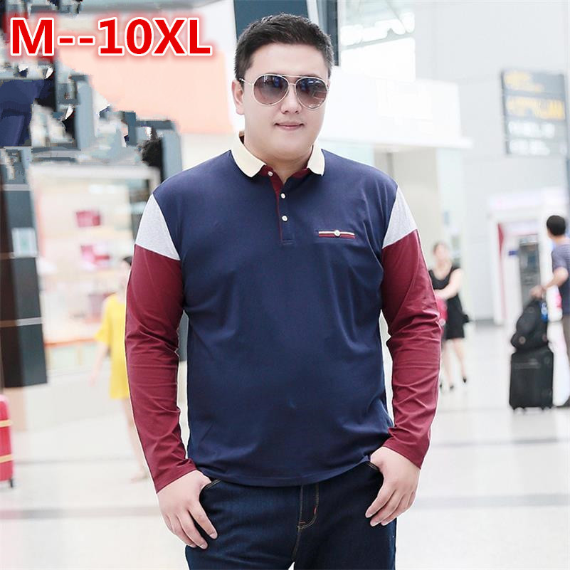 10XL <font><b>8XL</b></font> 6XL <font><b>Polo</b></font> shirt Men Cotton Anti-Wrinkle 2018 New Brand Mens Designer <font><b>Hombre</b></font> Casual Long Sleeve Solid <font><b>Polo</b></font> Shirts Homme image