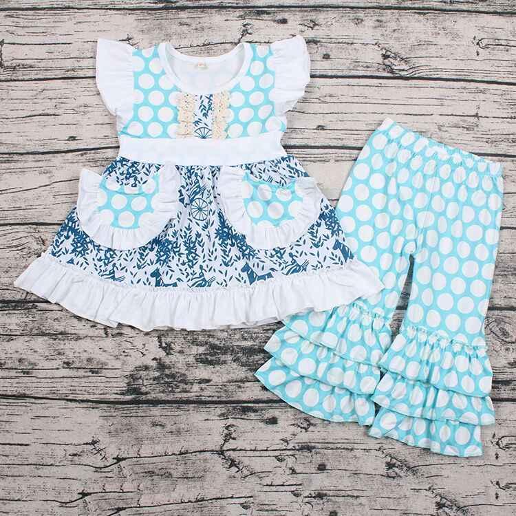 Fashion Bayi Biru Polka Dots Butik Pakaian 2 Pcs Pakaian Tidak Ada MOQ Siap untuk Mengirim Barang