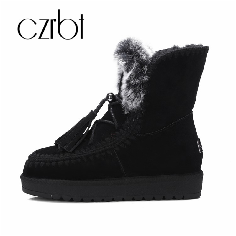 czrbt 2018 New winter snow boots genuine leather warm wool integrated fashion boots leisure non-slip ankle women boots ruiyee ladies snow boots sheepskin wool integrated boots furry tie bow waterproof boots fashion warm non slip wear