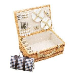 Большая винтажная плетеная корзина для пикника с настольным ковриком для 4 человек, набор для домашнего хранения, корзина для пикника для се...