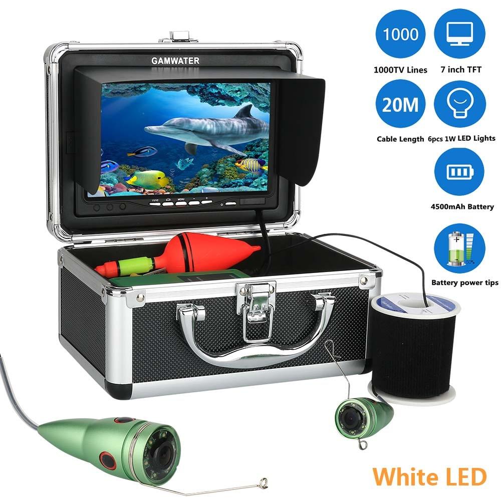 GAMWATER, видеокамера для подводной охоты, Камера комплект 1000tvl 6 Вт ИК светодиодный Белый светодиодный с 7 дюймов Цвет монитор 10, 15 м, 20 м возможностью погружения на глубину до 30 м - Цвет: White LED 20M Cable