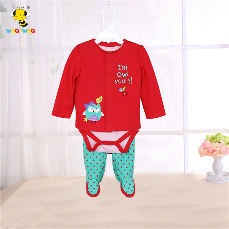 3 Pcs/Set Baby Boy Girl Clothes Cartoon Newborn Baby Romper+Coat+Pants Bebes Outfits Foot Overalls Clothes Body Suit For Newborn