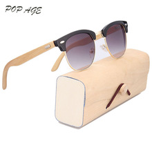 7dfbab9365 GREENBUY Bamboo Sunglasses Men Black Half Frame Gradient Gray UV400 Cat 3  Male Sunglasses 2016 Summer