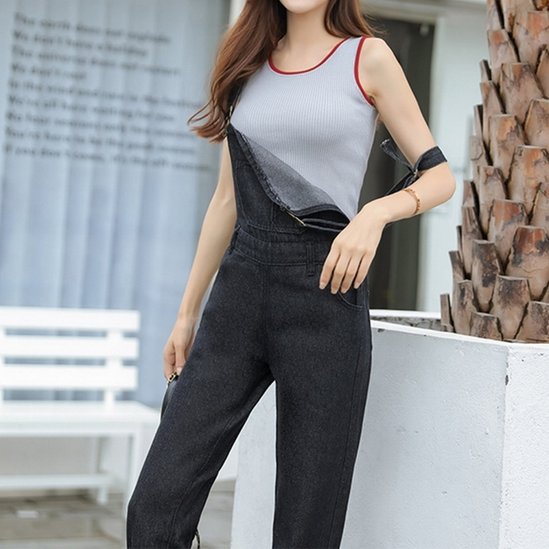 49449f7c7caf S 5XL Washed Denim Overalls Women Casual Plus Size Loose Black Jumpsuit  Pants Thin Strap Fit Jeans Maxi Rompers Ladies Fashion-in Jumpsuits from  Women s ...