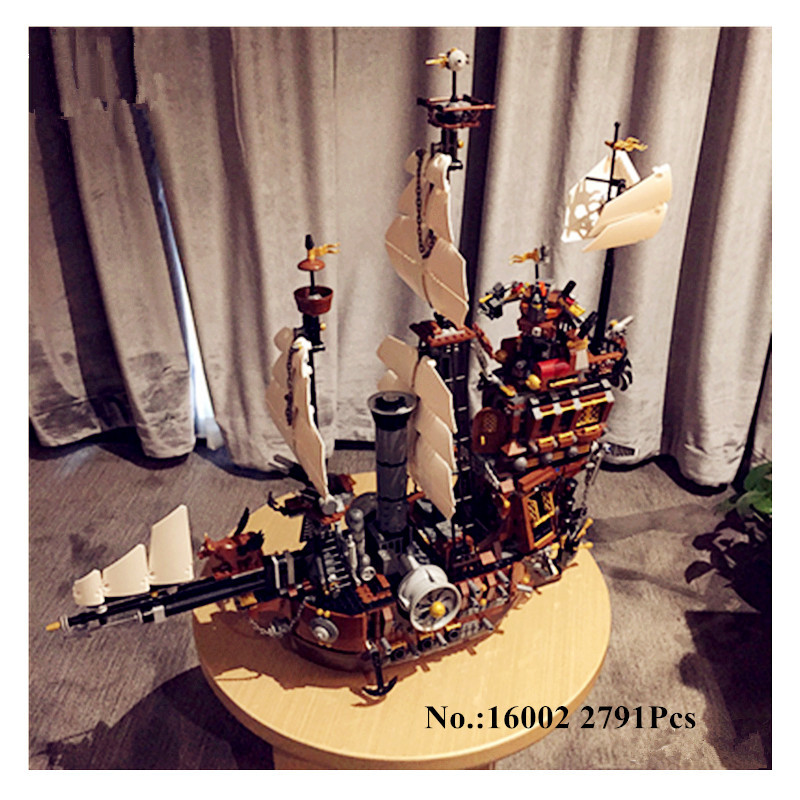 H&HXY 2791PCS 16002 Pirate Ship Metal Beard's Sea Cow LEPIN Model Building Blocks Bricks Toys Compatible 70810 Free Shipping lepin 16002 22001 16042 pirate ship metal beard s sea cow model building kits blocks bricks toys compatible with 70810