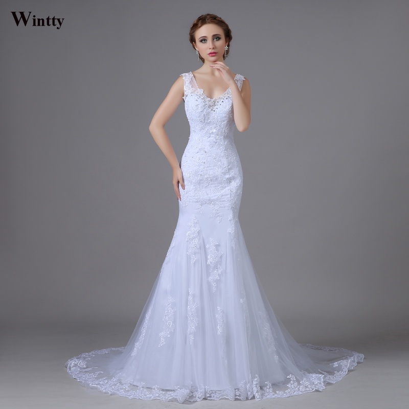 Wintty sexy trumpet mermaid lace wedding dresses train for Aliexpress robes de mariage