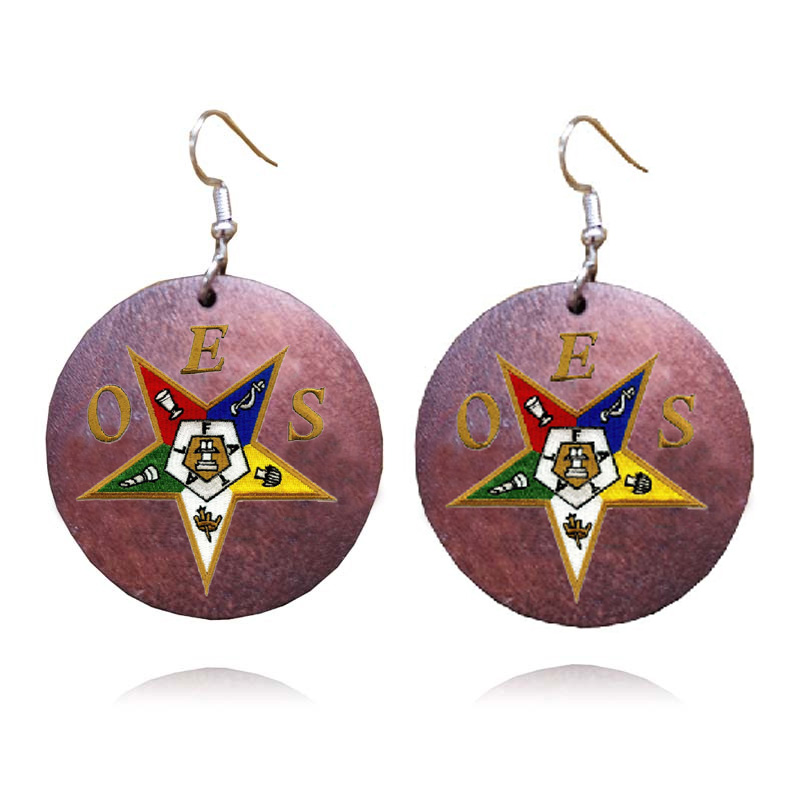 OES Emblem Large Wooden Earrings