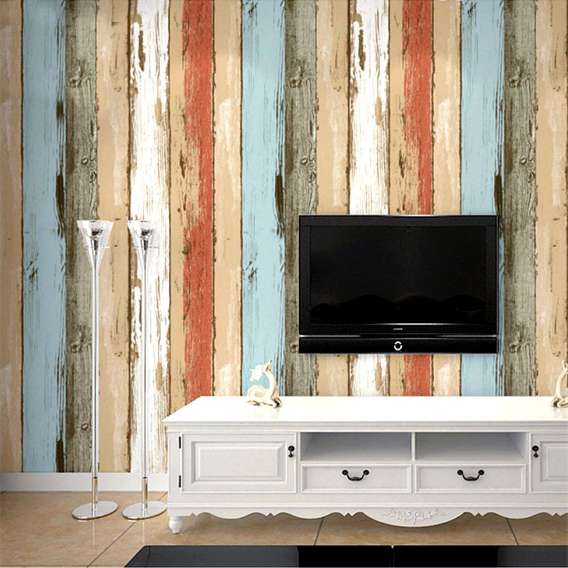 Retro Wooden Board Wood Grain Wallpaper For Living Room Restaurant TV Background Wall Home Decor Mediterranean Striped Wallpaper junran america style vintage nostalgic wood grain photo pictures wallpaper in special words digit wallpaper for living room
