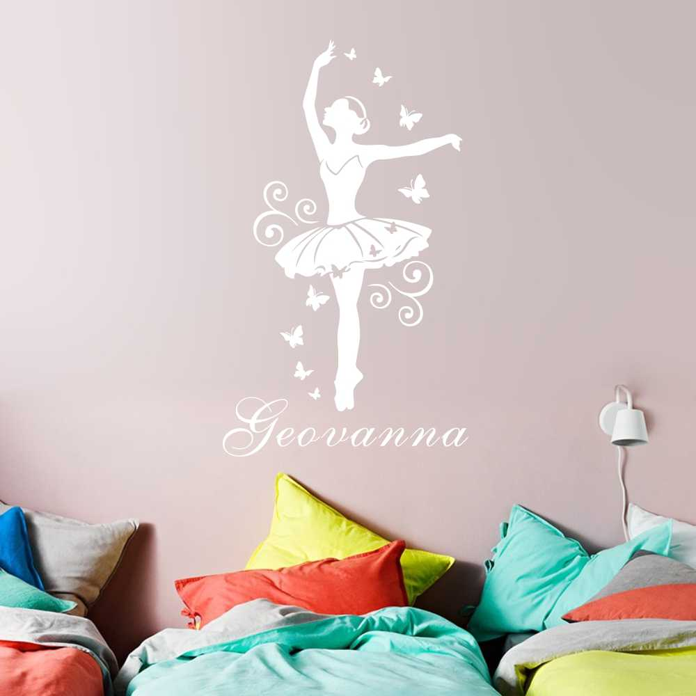 8ecc1b2784 Detail Feedback Questions about Personalized Girls Name Wall Sticker  Ballerina Art Vinyl Poster Ballet Dancer Butterfly Wallpaper for Girls Room  Decoration ...