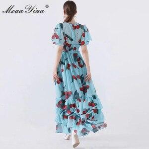 Image 4 - MoaaYina 패션 디자이너 런웨이 드레스 봄 여름 여성 드레스 v 목 신축성 허리 과일 꽃 프린트 프릴 드레스