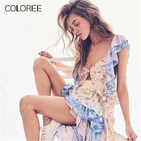COLOREE Holiday Women Two Piece Of Cute Sets Summer Floral Printed Single breasted Top+Cascading Ruffles Midi Irregular Skirt