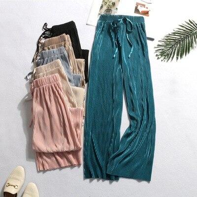 New   Wide     Leg     Pants   Women Summer Eastic Waist   Pants   Casual Ankle-Length Pleated   Pant   Female Harajuku Trousers 2019