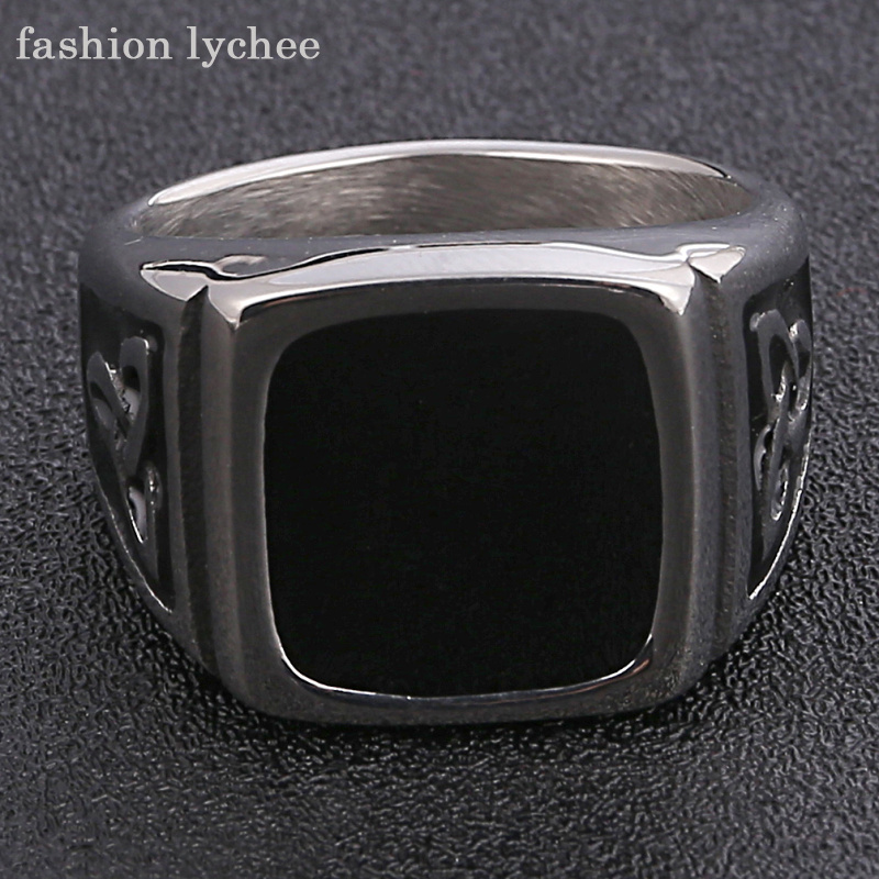 fashion lychee Gothic Vinyl Surface Knot Enamel Signet Rings Men Vintage Finger Rings Biker Motorcycle Punk Jewelry