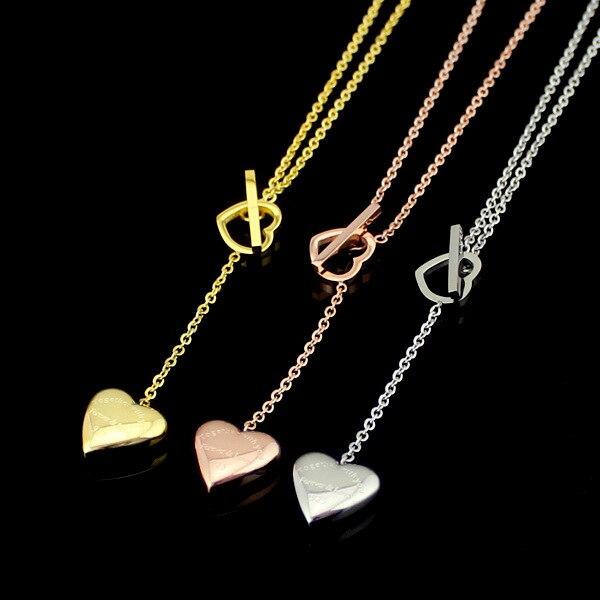 Moda Rosa oro plata corazón colgante declaración gargantilla Collar para siempre y amor identificación Collares para las mujeres joyería