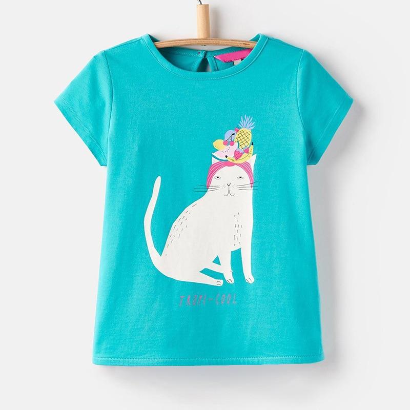 Little Maven New Summer Kids Clothing Short O-neck Green Cats Cartoon Knitted Cotton 1-6yrs Girls Casual Tshirt