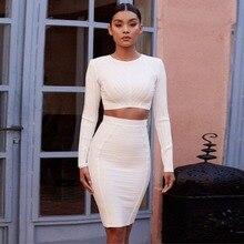 Высококачественное белое Бандажное платье с длинным рукавом для знаменитостей; комплект из 2 предметов; вечернее платье