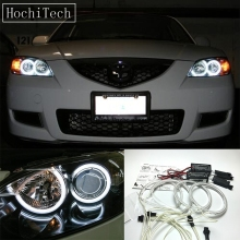 HochiTech For Mazda 3 mazda3 2002-07 Ultra Bright Day Light DRL CCFL Angel Eyes Demon Eyes Kit Warm White Halo Ring Car-styling цена