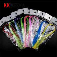 KKWEZVA UV Flashabou Holographic Tinsel Stonefly Nymph Back Jig Body Wrap Lure Fishing Fly Tying Material fly tying material 100 pcs gold copper black nickle tungsten bead fly tying beads fly fishing nymph head ball beads