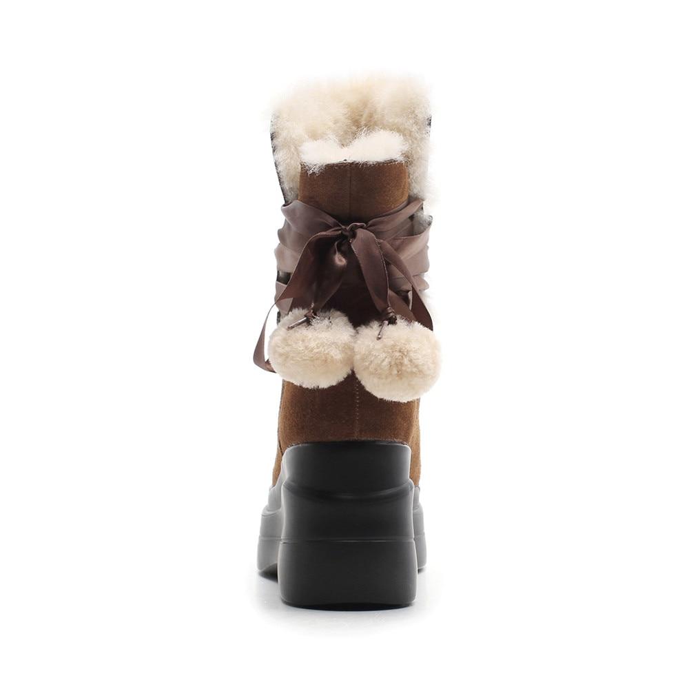 Botas Cuero brown Botines De Asumer Keepwarm Dedo Negro Moda Mujeres Suede Cuñas Negro Plataforma Pie Del Marrón Lana Zapatos Invierno Ronda R0UwqPR