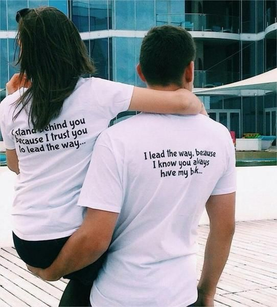 Couple Matching Tshirt I Lead The Way I Stand Behind You Tee Shirt Summer Men  Women Valentine T Shirts Gift For Lovers