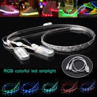 2 Pcs 60cm USB Charging Battery Powered RGB 24 LED Strip Light Shoes Clothes Party LB88