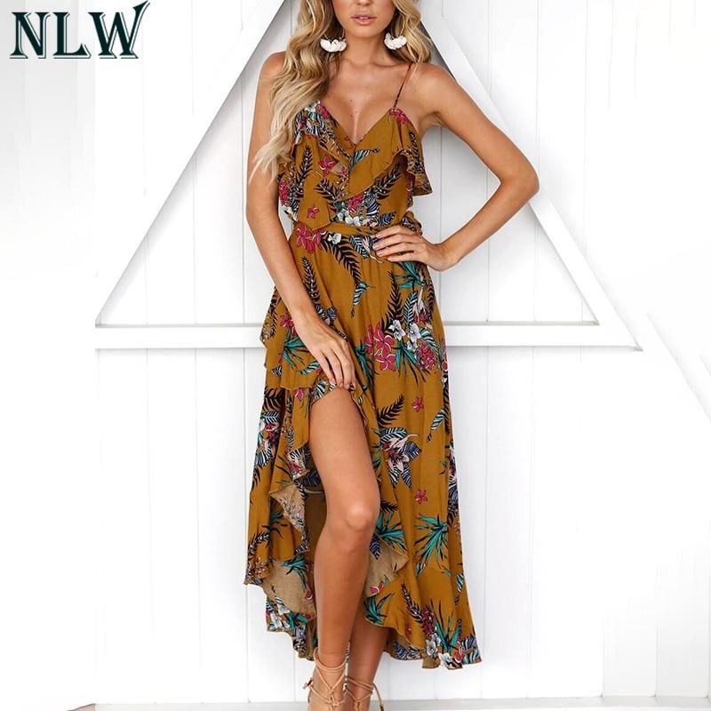 1ff1f257d02ec NLW Summer Beach Party Dress Women Girl Spaghetti Strap Ruffle V Neck Wrap  High Low Hem Maxi Dress 2019 Robe Femme Dresses Festa