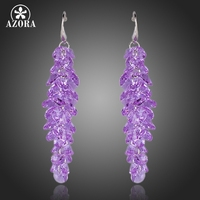 Purple SWA Element Austrian Crystal Romantic Lavender Drop Earrings FREE SHIPPING Azora TE0097