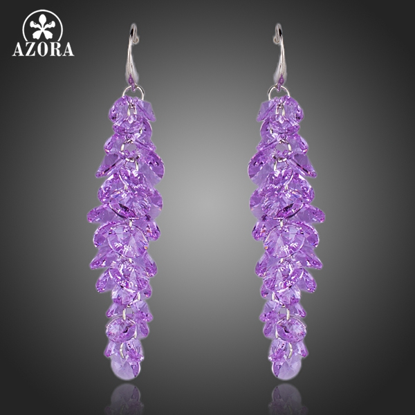 AZORA Purple Stellux Austrian Crystal Romantic Lavender Drop Earrings TE0097 цена