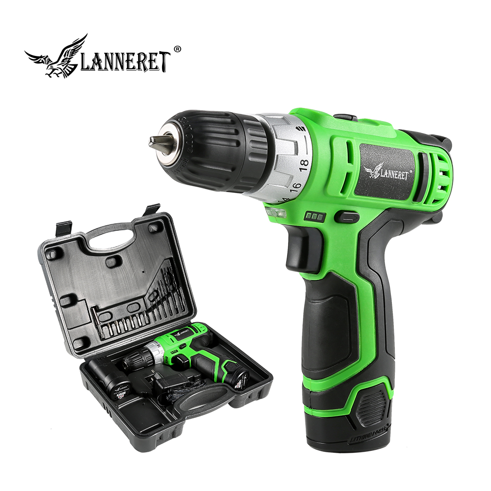 LANNERET 10.8V Electric Screwdriver Cordless Drill Wireless Power Driver 2-Speed Rechargeable DC Lithium-Ion Battery Power Tool lanneret 18v lithium ion battery 2 speed cordless drill electric screwdriver household rechargeable drill tools