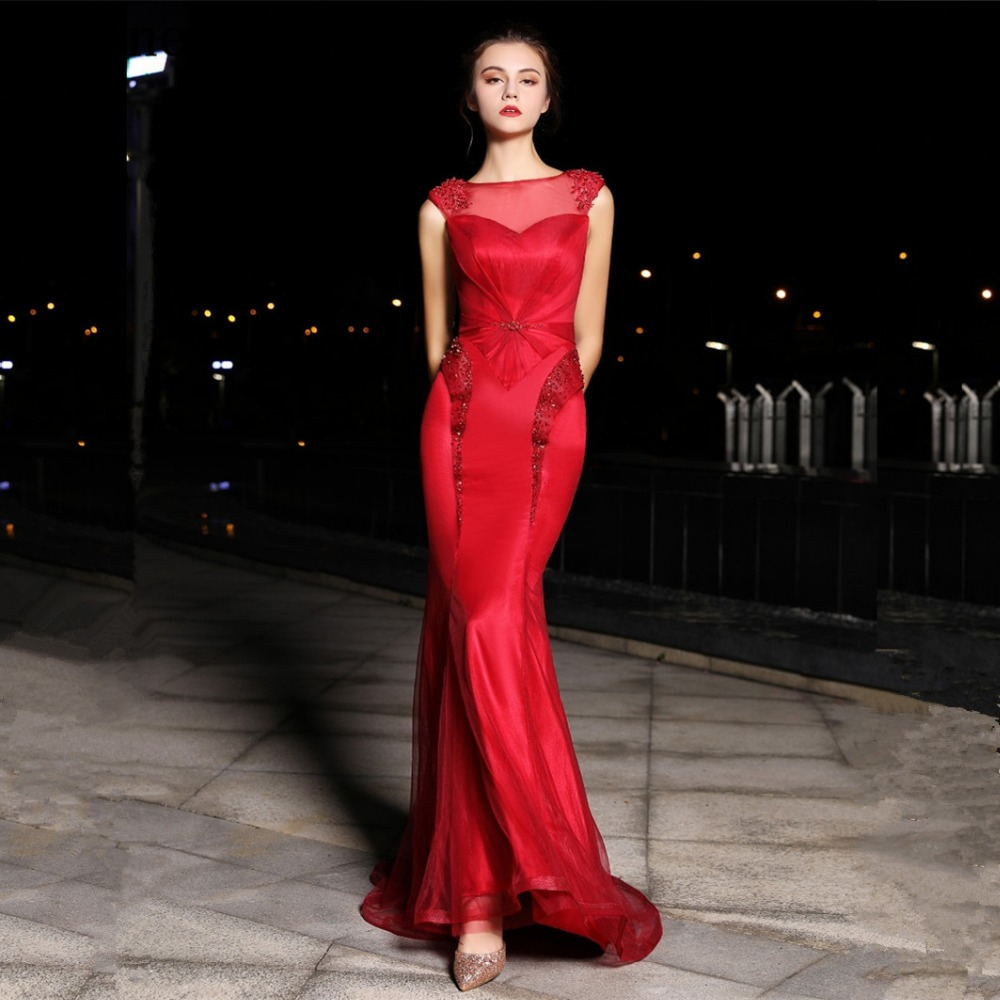 JaneVini Mermaid Red Dubai Prom   Dress   Scoop Neck Appliques Beaded Tulle Long   Bridesmaid     Dresses   Robe Demoiselle D'honneur Rouge